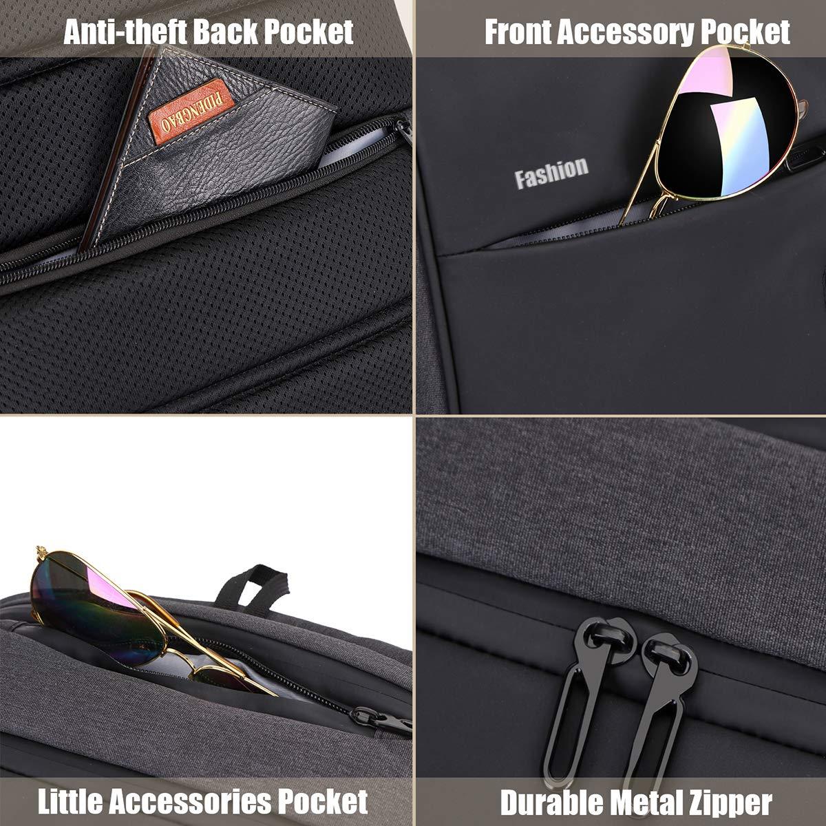 Xnuoyo Laptop Zaino Antifurto, 17.3 Pollici Impermeabile Zaino Porta PC con Porta USB di Ricarica Interfaccia Cuffie Zaino da Viaggio per Il Viaggio per Notebook Tablet da 12-17 Pollici, Nero