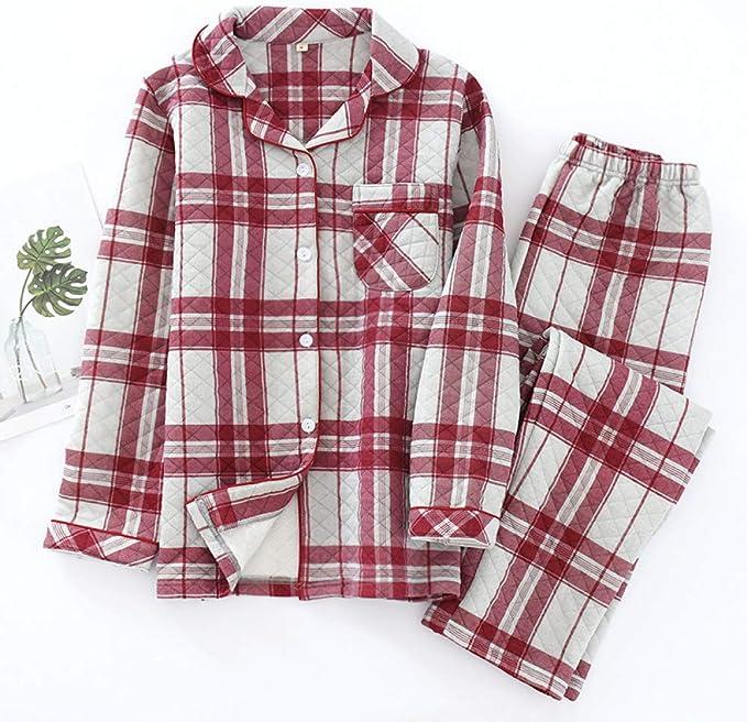 Conjuntos de Pijamas de Pareja de Cuadros Gruesos de Moda para Mujeres y Hombres Pijamas Acolchados de algodón de Manga Larga Acolchados de Invierno Ropa de Dormir para Hombres: Amazon.es: Ropa y