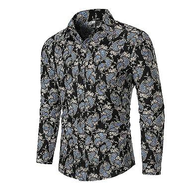 Camisa de Hombre étnica, Feixiang Camisa de Hombre de Manga Larga ...
