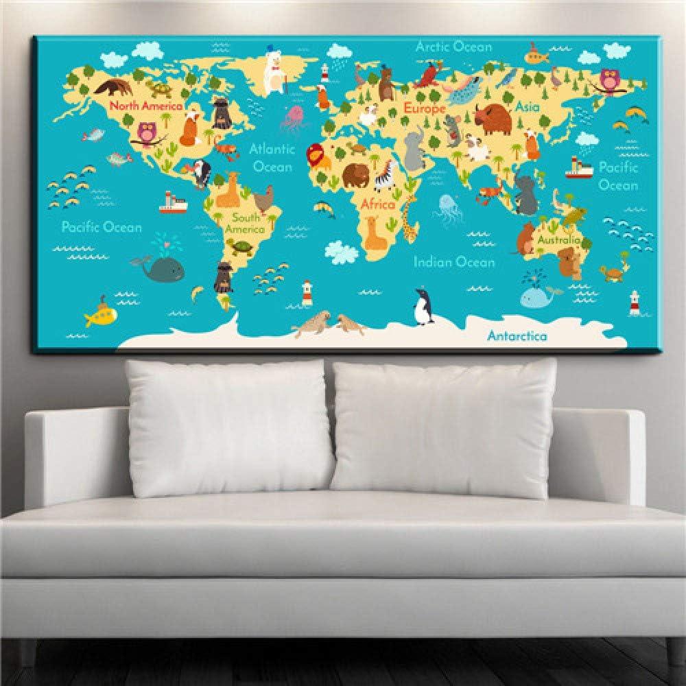 NIMCG Mapa del Mundo Lienzo Pintura Pared Art Deco Imprimir Cartel Lienzo Pintura Pared Imagen decoración del hogar impresión (sin Marco) A1 40x80 cm