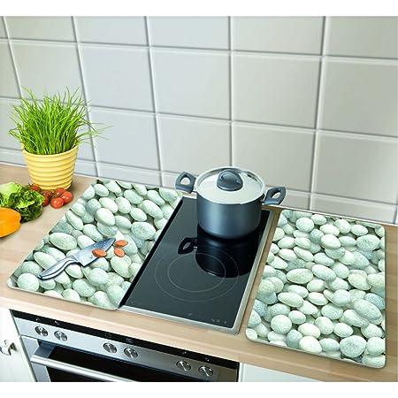 Wenko 2521300100 Cubierta de Cocina Universal Guijarros - Juego de 2 Piezas para Todos los Tipos de cocinas, Vidrio endurecido, 30 x 1.8-4.5 x 52 cm
