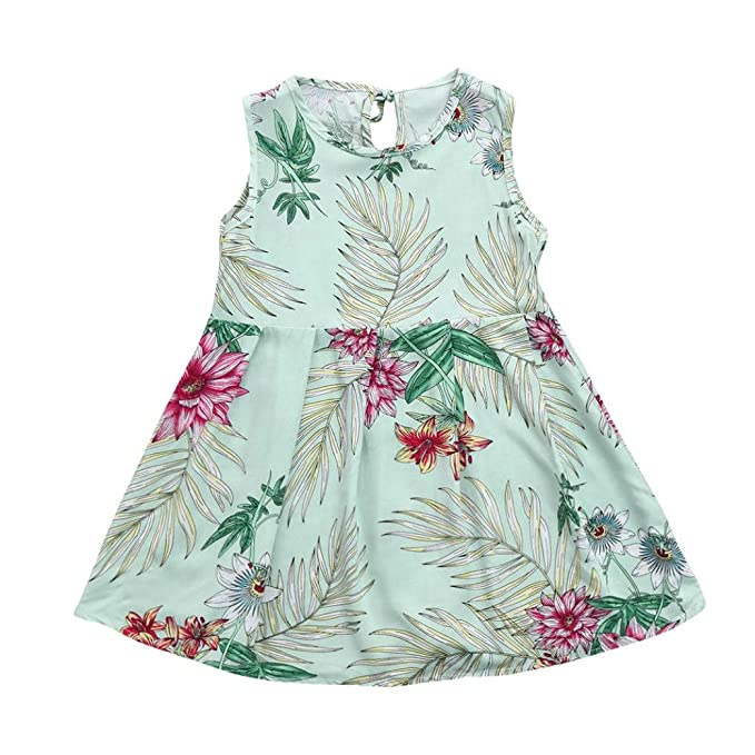 4c759d46a07 2018 Summer Toddler Kid Baby Girl Clothes Sleeveless Floral Printing Party  Birthday Dress Gift Outfits (