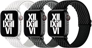 Surace Stretchy Solo Loop Band Compatible with Apple Watch Bands 38mm 40mm, Adjustable Elastic Sport Strap Women Men Compatible for Apple Watch Series 6/5/4/3/2/1 SE, 3-Pack Black/Storm Gray/Seashell