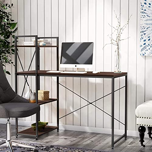 Bestier Computer Desk with Shelves,Writing Desk with Storage Shelves Study Table Office Desk with Shelves Workstation Home Office Desk with Bookshelf 47 Inches for Study Room, Bedroom Brown