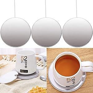Wehhbtye 3 Pack USB Smart Cup Warmer-USB Coffee Mug Warmer,Desk Coffee Cup Heating Plate for Warming Heating Coffee, Beverage, Milk, Tea and Hot Chocolate (Up To 131F/55C)