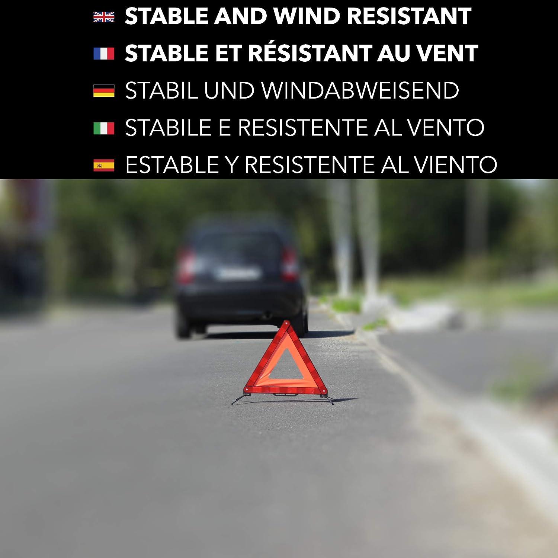 avec Boite De Rangement Inclus Pliable R/ésistant Au Vent Takit Triangle De Signalisation avec Gilet Jaune De S/écurit/é