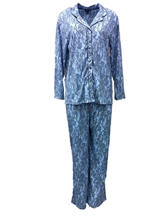 Nicole Miller Womens Blue Lace Print Pajamas Button Front Collared Pajama Set M