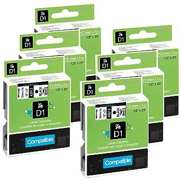 6x Schriftbandkassette kompatibel zu Dymo D1 45013 12mm schwarz auf weiß