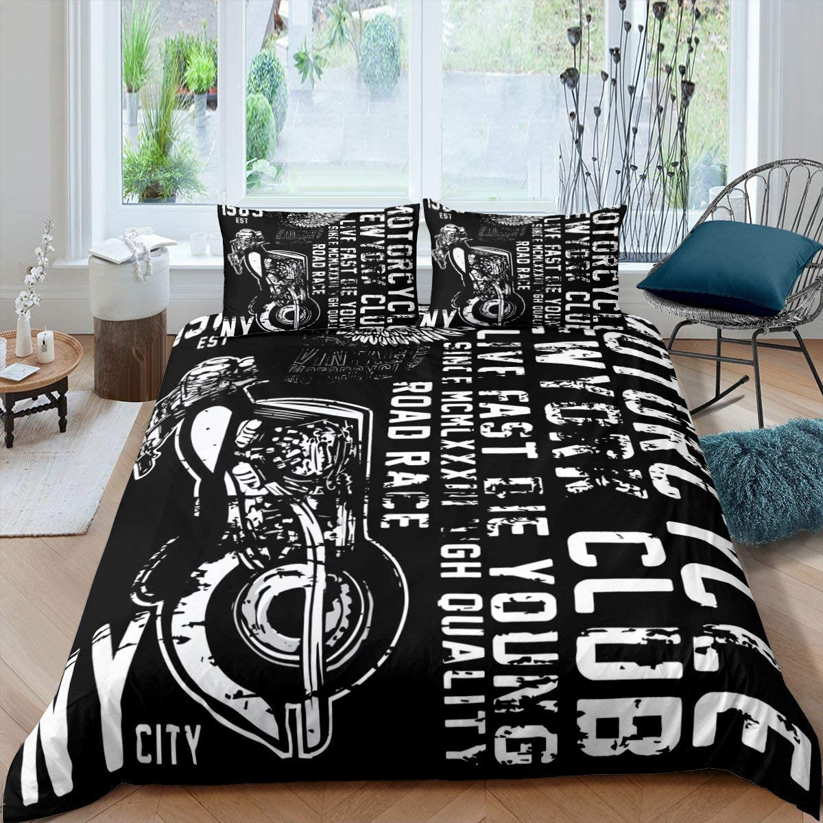 Motocross Bedding Set, 3D Cross-Country Motorcycle Dirt Bike Extreme Sports Design Adventurous Style Comforter Cover, Decorative 2 Piece Duvet Cover With 1 Pillow Sham, Twin Size, Black White