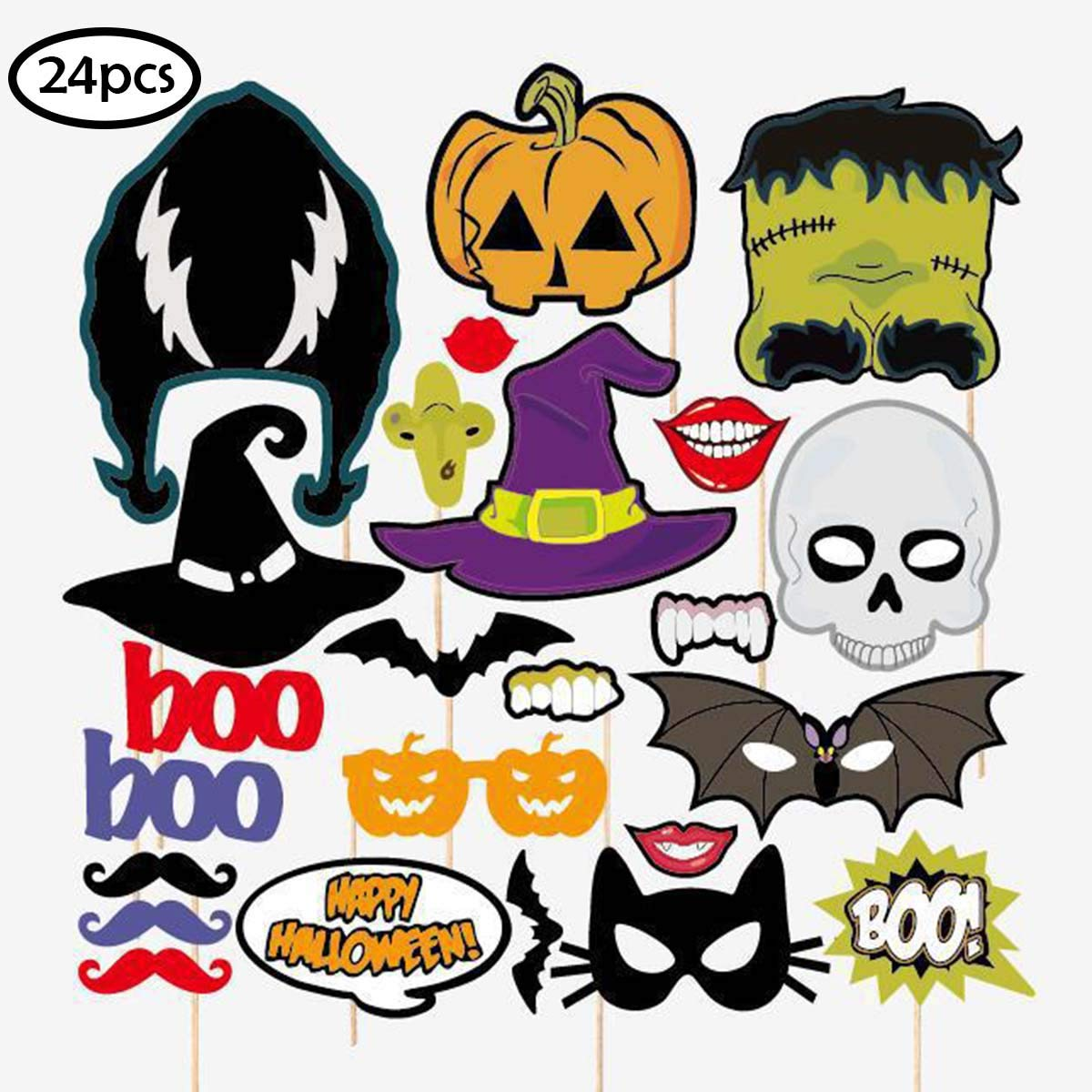 Happy Halloween Photo Booth Props Kit, Skull Witch Hat Pumpkin Bat DIY Pose Sign Party Decoration Supplies - 24 Printed Pieces with Sticks COKOHAPPY