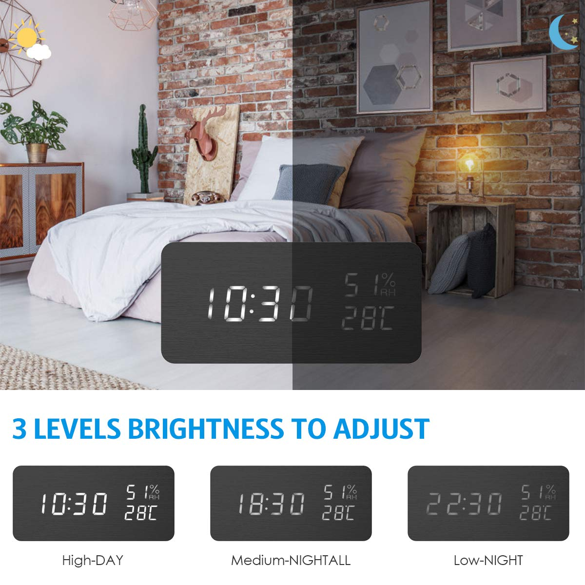 AMIR Alarm Clock, Wooden Digital Multi-Function Modern Cube LED Light, Smart Voice-Activated with 3 Alarm Sounds, Display Date Temperature & Humidity for Home, Kitchen, Bedroom (Black) by AMIR (Image #3)