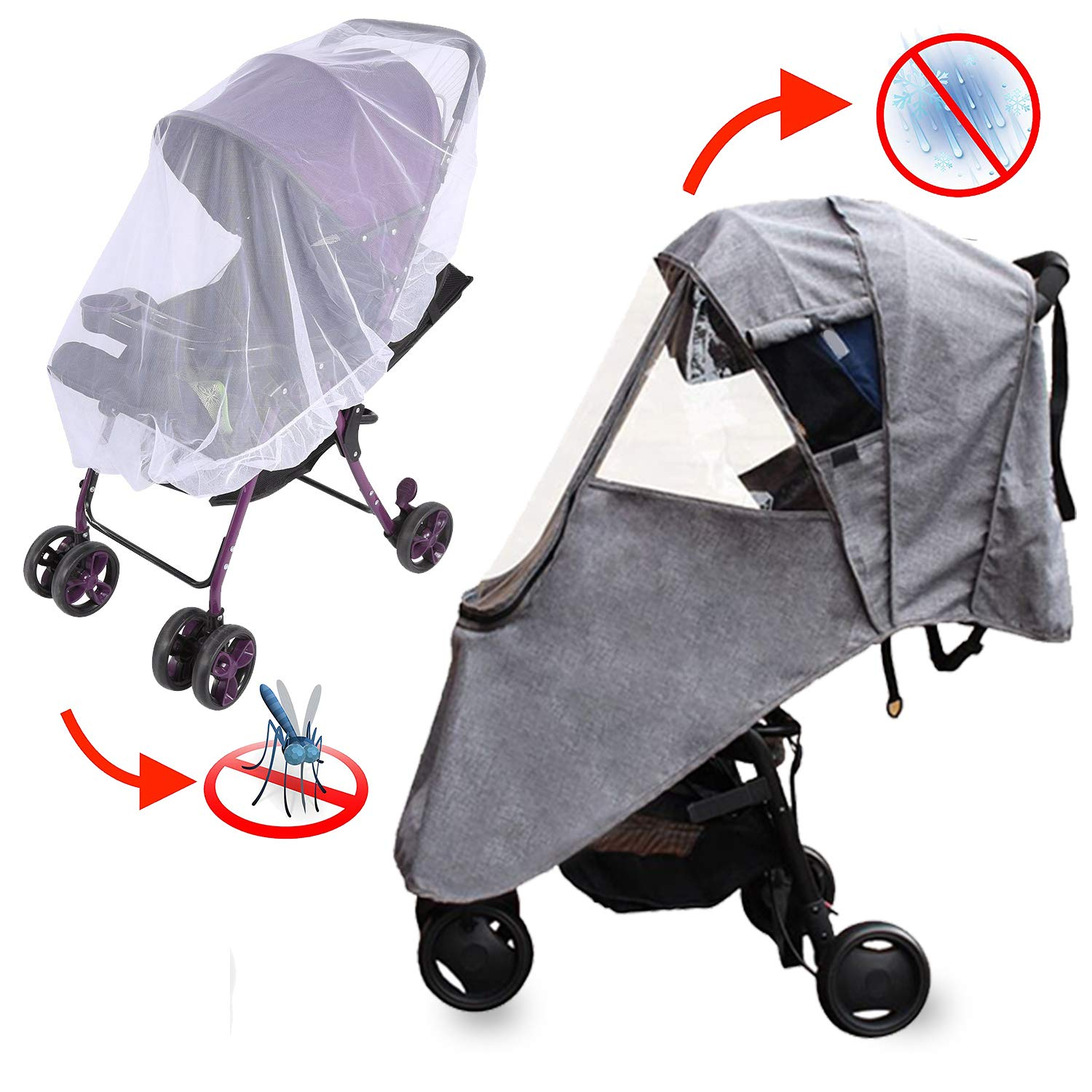 Rain Cover for Stroller - Mosquito Net(2-Piece Set), Apsung Universal Baby Travel Stroller Rain Cover Waterproof, Windproof Protection, Outdoor Use with Air Holes-Gray