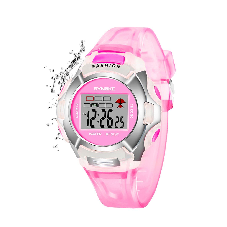 Girls Digital Watch Kids Sport Waterproof Outdoor Watches with Alarm, Stopwatch Children LED Electronic Wristwatch for Kids Girls (Pink)