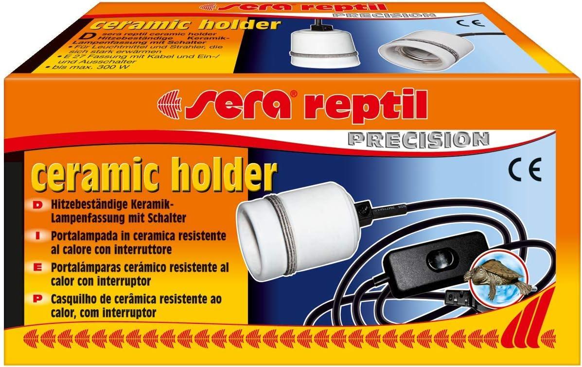 Sera 32012 Reptil Ceramic Holder con Casquillo E27 de cerámica con Cable e Interruptor para instalaciones de terrarios (Adecuado hasta 300 W), para Uso de Bombillas y radiadores