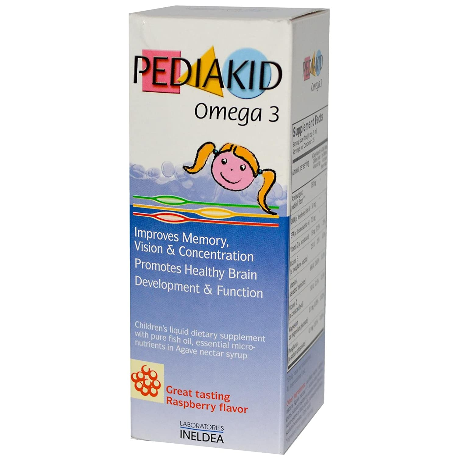 Amazon.com: Pediakid Omega 3 Fish Oil Natural Liquid Children Vitamins to Promote Healthy Development and Brain Growth: Health & Personal Care