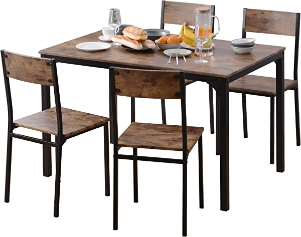 5-Piece Dining Table Set For 4, Modern Breakfast Nook With Metal Frame And MDF Board, Kitchen Room With Chairs Home Furniture For Small Spaces