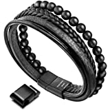 murtoo Mens Bead Leather Bracelet, Natural Bead, Steel and Leather Bracelet for Men