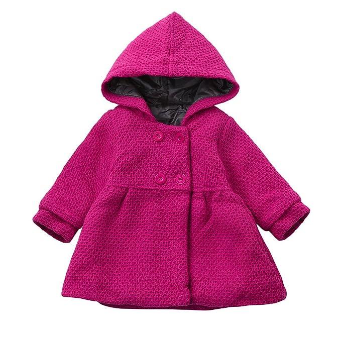 ee4a82500c7b Amazon.com  Lollyeca Toddler Kids Baby Girl Jackets Hooded Tops Warm ...