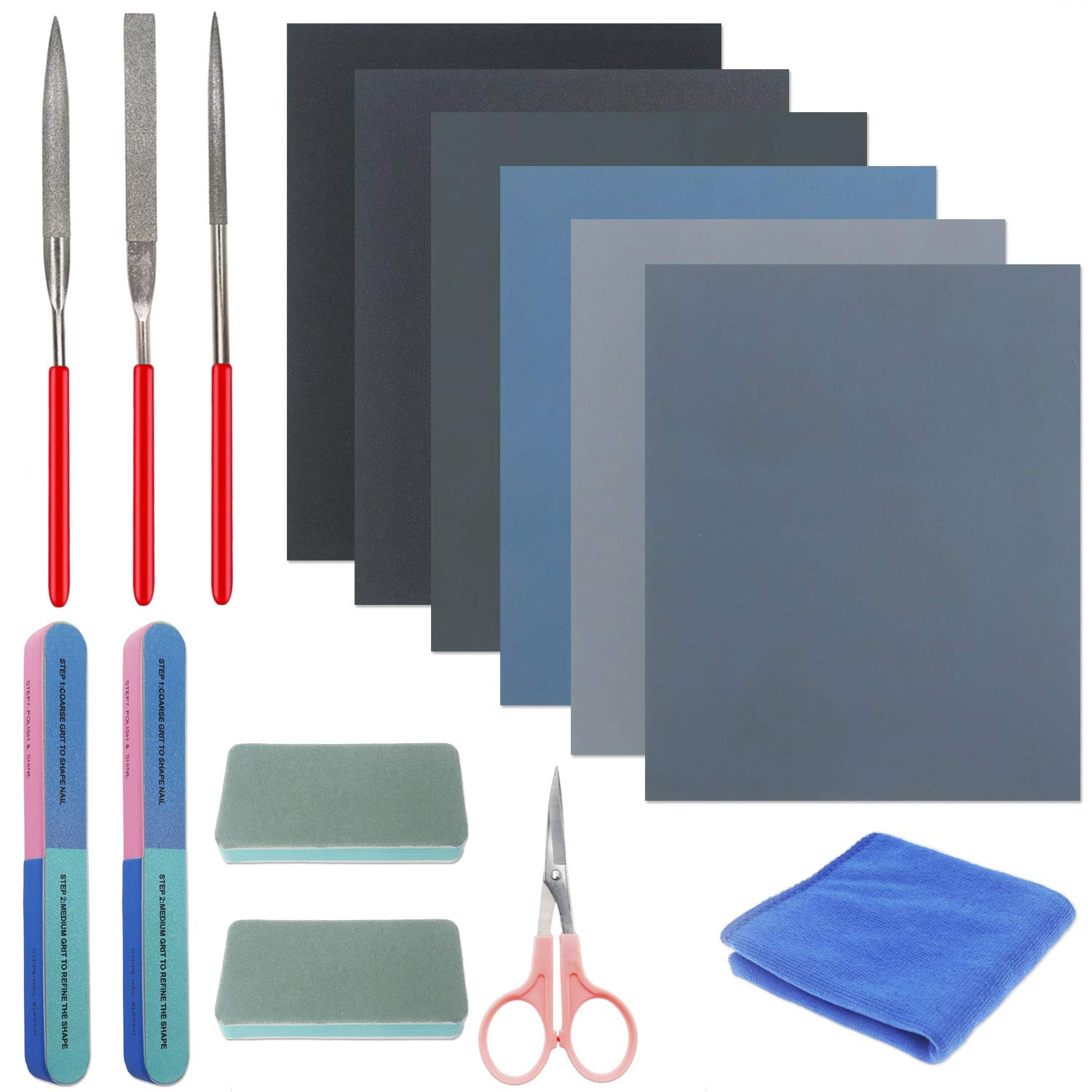 13 Pieces Resin Casting Tools Set - Include Sand Papers, Polishing Blocks, Polishing Cloth, Round File, Semicircular File, Flat File and Scissors for Polishing Epoxy Resin Jewelry Making Supplies