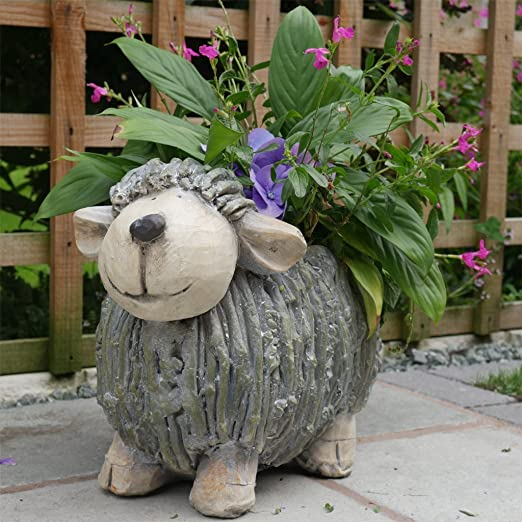 BONUS ET SALVUS TIBI (BEST) Best Value Here - Figura Decorativa para Jardín, Diseño de Rayas Blancas de Resina de Lamba con Dos Tipos de Figuras: Amazon.es: Jardín