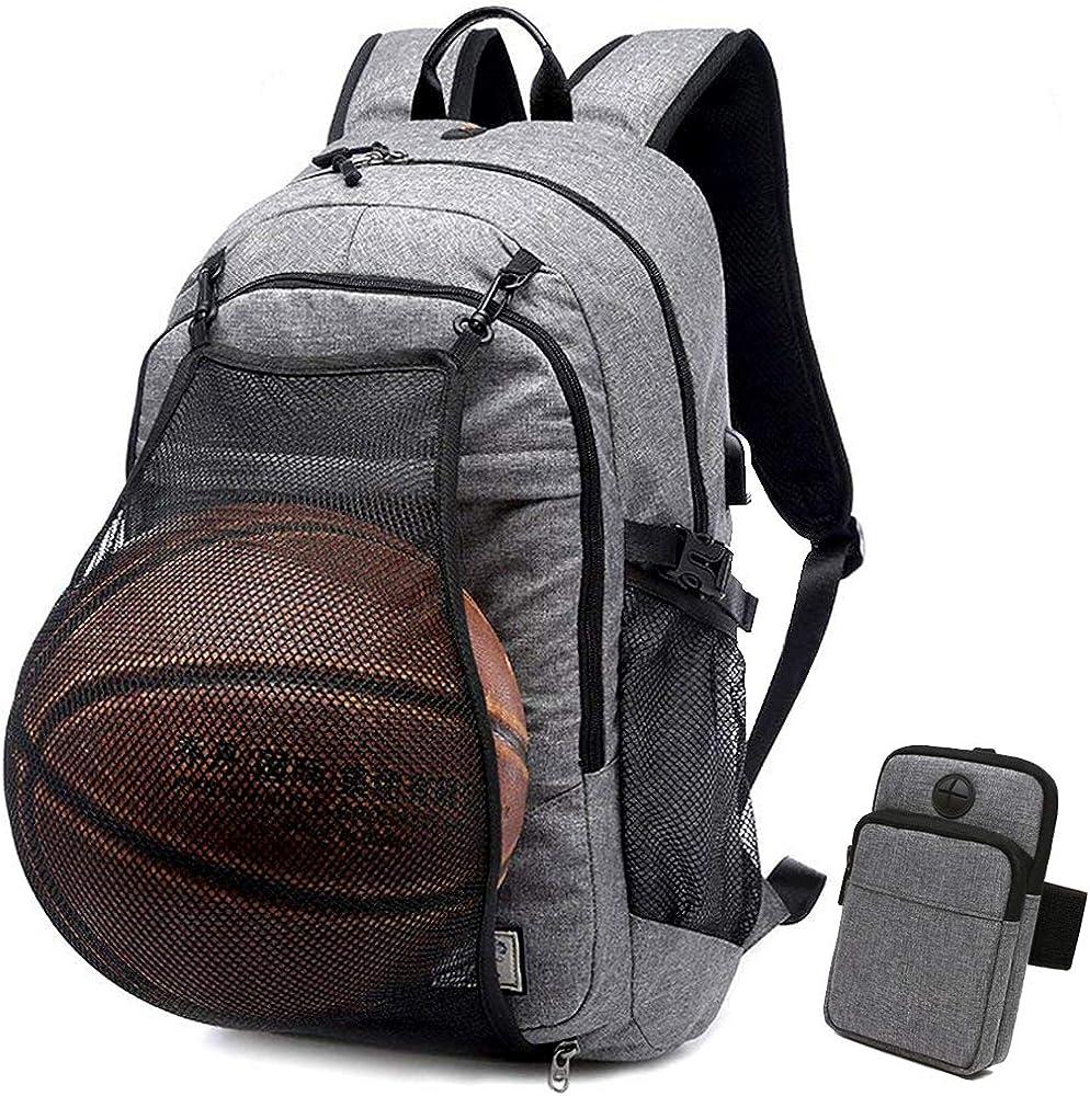 Basketball Laptop Backpack for Men Boy USB Travel School 15.6 inch Computer Bag