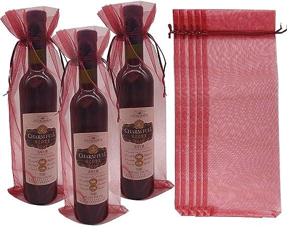 Vino 10 x Organza puro Bottiglia di vino sacchetti regalo per il presente del partito Matrimoni