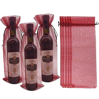 Switty Bolsas de regalo para botellas de vino de organza, 10 unidades