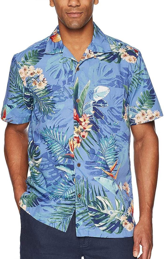 Mens Short Sleeve Hawaiian Shirt Summer Beach Buttoned Loose Vacation Casual Top