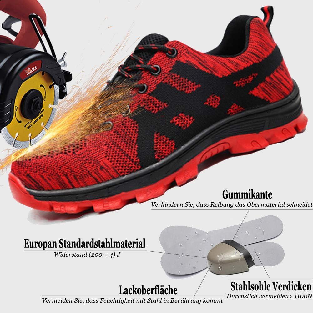 populalar Sicherheitsschuhe Herren Damen Arbeitsschuhe Stahlkappe Atmungsaktiv Leicht Sportlich Trekking Wanderhalbschuhe Mesh Schutzschuhe Traillaufschuhe