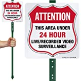 "SmartSign ""Attention - This Area Under 24 Hour Live/Recorded Video Surveillance"" Shield Sign 