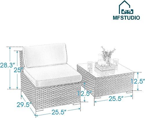 MFSTUDIO 2 Piece New Patio Sectional Furniture Outdoor Sofa Set with Upgrade Rattan Wicker,Navy Blue