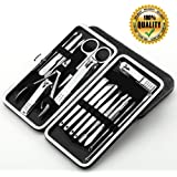 Shileded Nail Clippers Set,16 in 1 Stainless Steel Fingernail Clippers Toenail Clippers, Easy to Carry Clippers Nail, Tweezers & Nail File Kit in Travel Case Nail File Nail Clippers Cutter for Men/Women/baby with Leather Case(Silver)