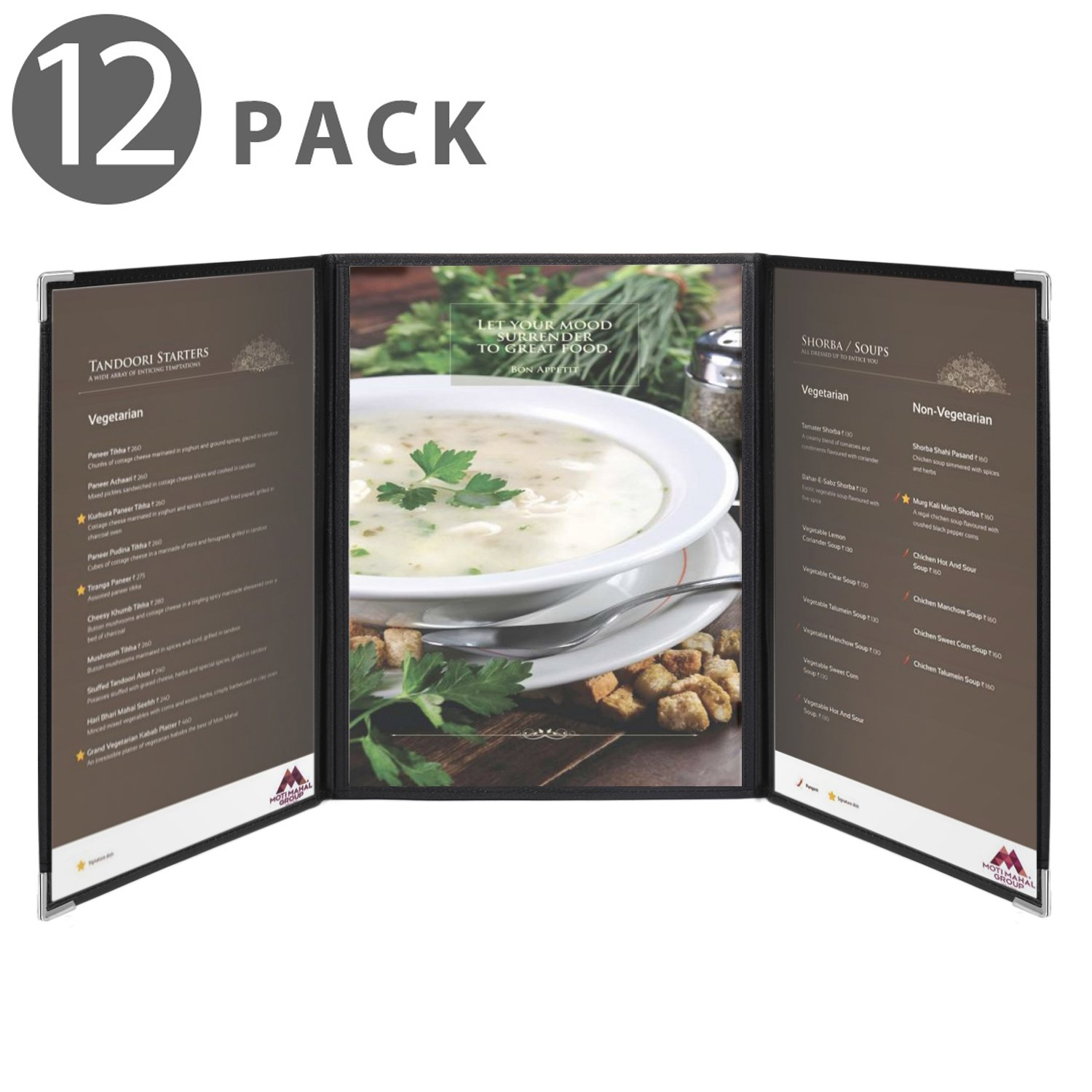 Flexzion Menu Covers Fits 9.4'' x 12.4'' Paper - Restaurant Triple Stitched Folder Sleeves Order Book 3 Pages 6 View with Clear PVC Sheets Black Binding for Deli Cafe Drink Bar (12 Pack)