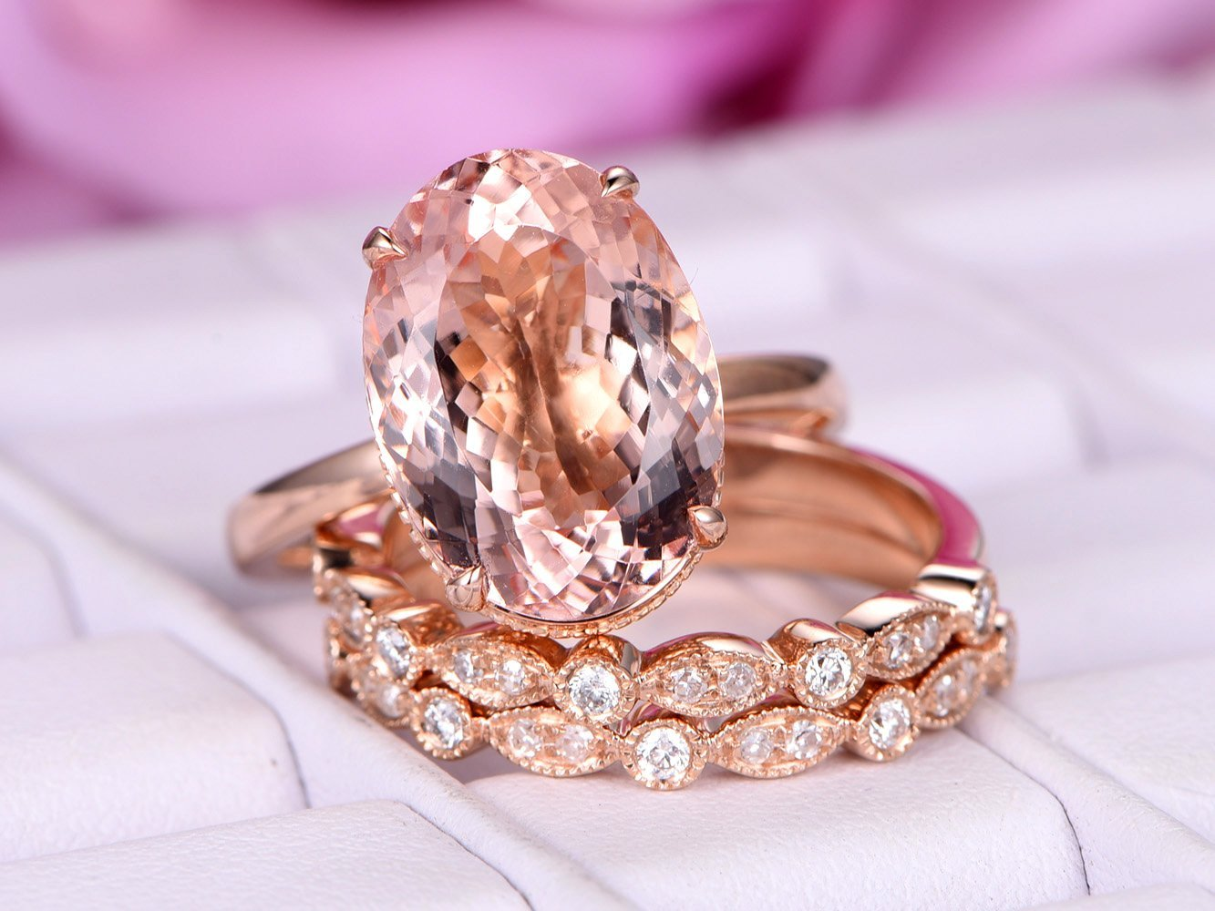 Amazon.com: Oval Morganite Engagement Ring Set Pave Diamond Wedding ...