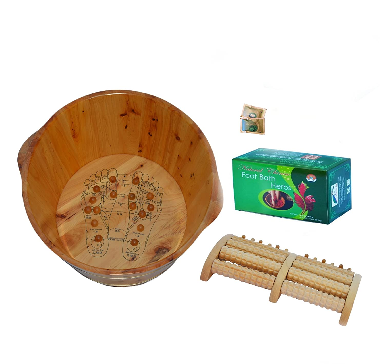 Amazon.com: TCM Head-To-Toe Set- 3 Items: Cedar Wood Foot Soak Tub ...