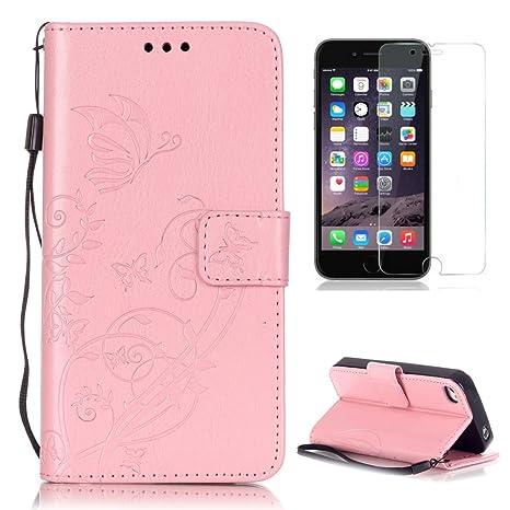 CaseHome Compatible For Apple iPhone 4/4S Funda Piel PU Cuero Billetera,Mariposa y Flores,Carcasa en Libro [Flip][Card Slots] Protección Gota Prima ...