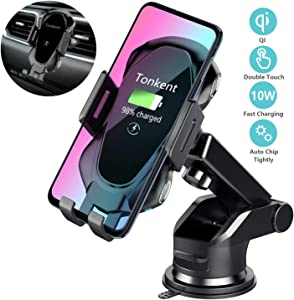 Tonkent Wireless Car Charger Auto Clamping Car Charger Mount Compatible for iPhone Xs/Max/X/XR/8/8 Plus Samsung Galaxy Note 9/ S9/ S9+/ S8/S8+/S7/S6 Edge and Other Qi Enabled Phones