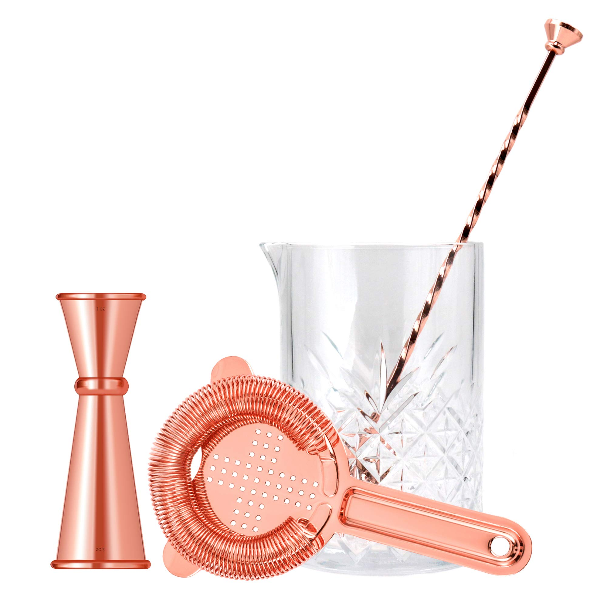 Cocktail Mixing Glass Bar Set By Homestia 4-Piece: 24.5oz Thick Mixing Glass, Bar Strainer, Double Jigger, Bar Spoon,Copper by Homestia