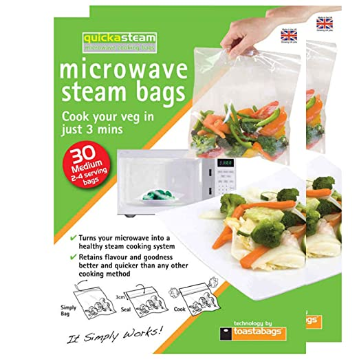 Quickasteam bolsas de vapor para microondas cocinar ...