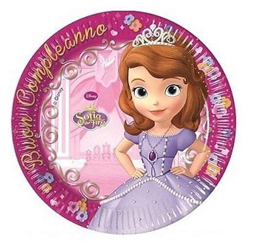 Platos Papel Princesa Sofia 19 cm, el día cumpleaños PS ...