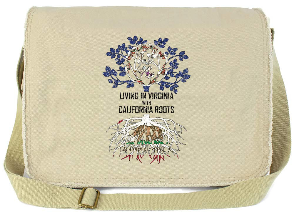 Tenacitee Living In Virginia with California Roots Grey Brushed Canvas Messenger Bag