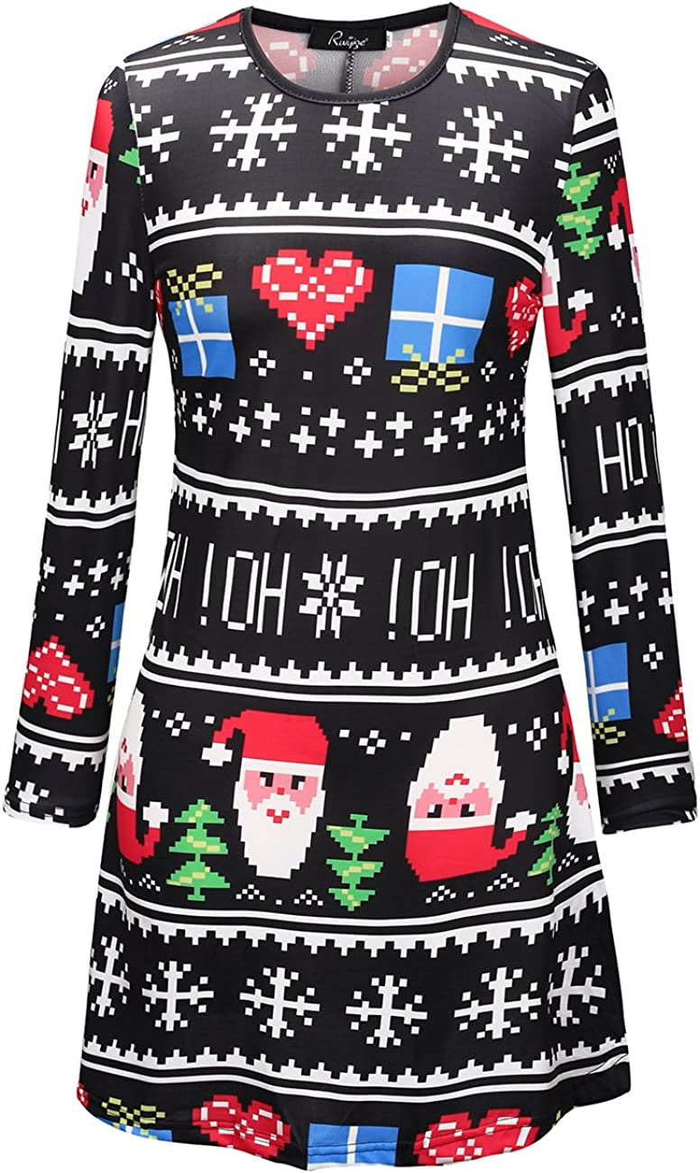 Ruiyige Women Girl Womens Christmas Pullover Flared A Line Dress