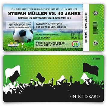 Einladungskarten Zum Geburtstag 60 Stuck Als Fussballticket Karte Ticket Fussball Einladung