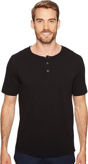 Mod-o-doc Men's Montecito Short Sleeve Henley Black Shirt