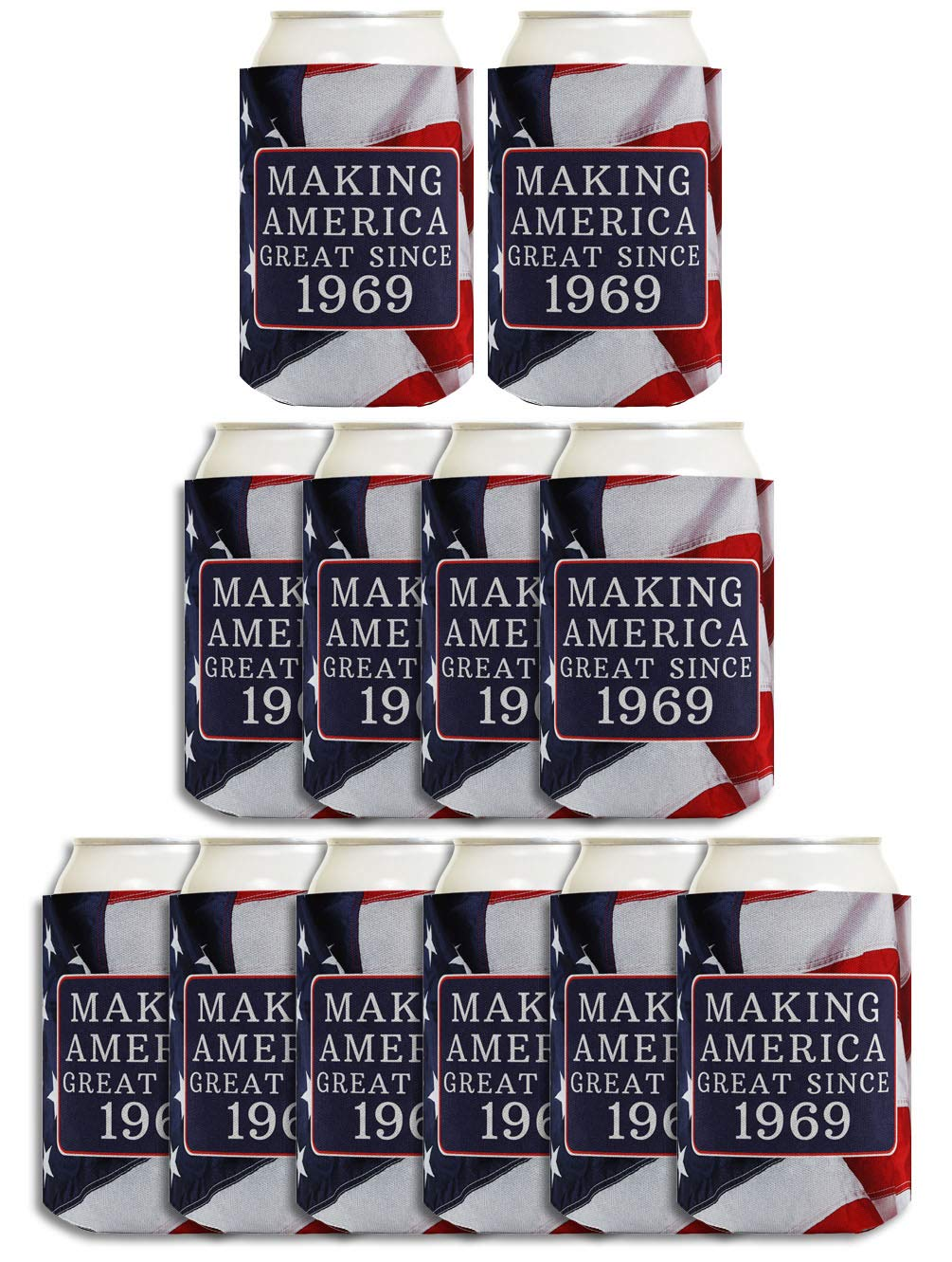 50th Birthday Gift Ideas Making America Great Since 1969 Decorations Gifts For Men 12 Pack Can Coolie Drink Coolers Coolies USA