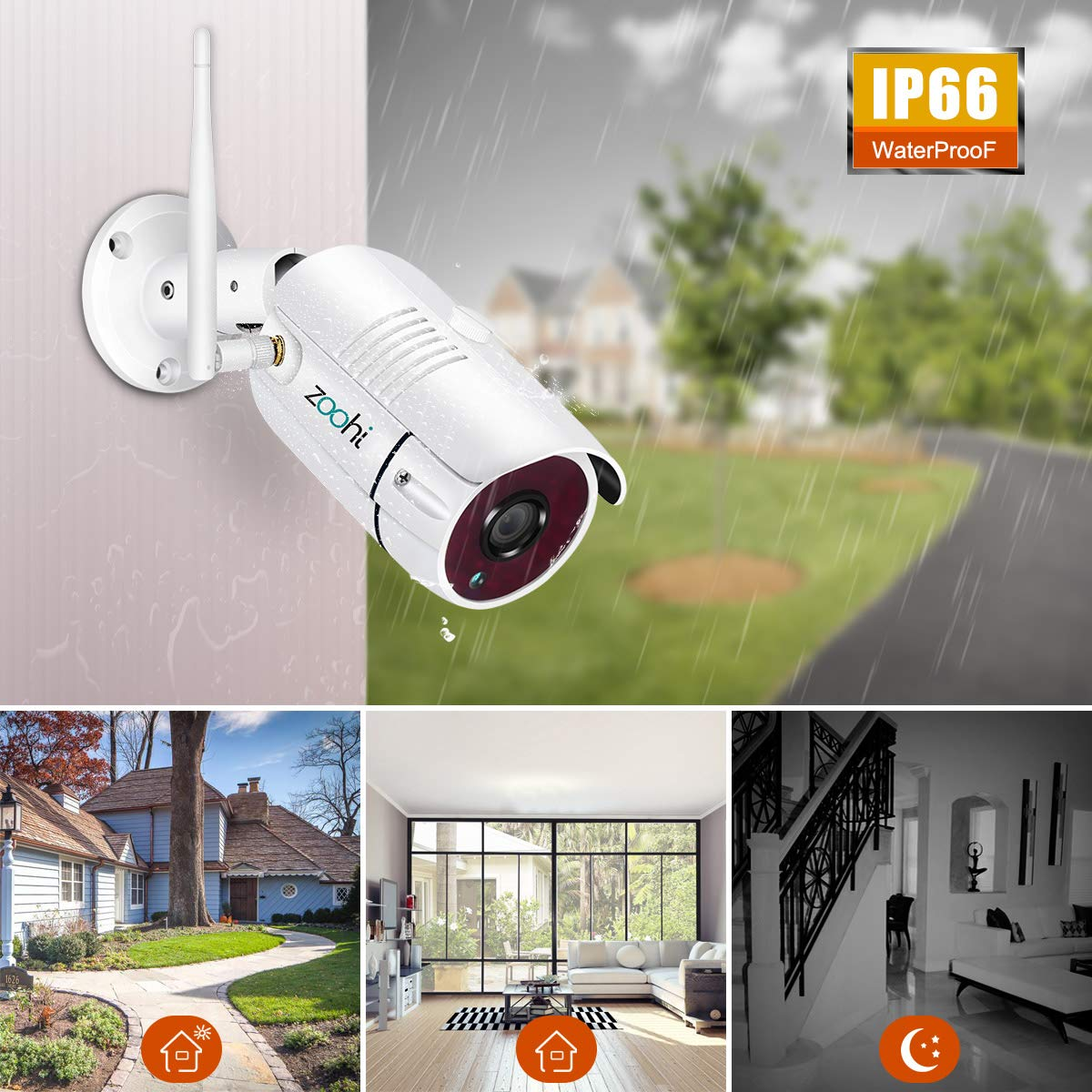 Security Camera System Wireless,Full HD 4CH 1080P Wireless Video