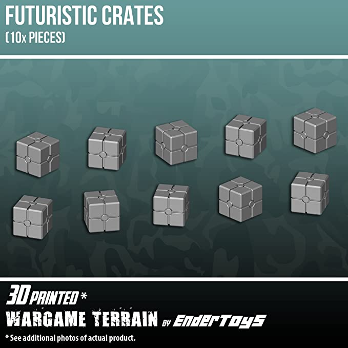 EnderToys Futuristic Crates, Terrain Scenery for Tabletop 28mm Miniatures Wargame, 3D Printed and Paintable: Amazon.es: Juguetes y juegos