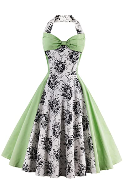 Babyonline Sleeveless Floral Print Midi lulus dresses for women formal ,Green,S