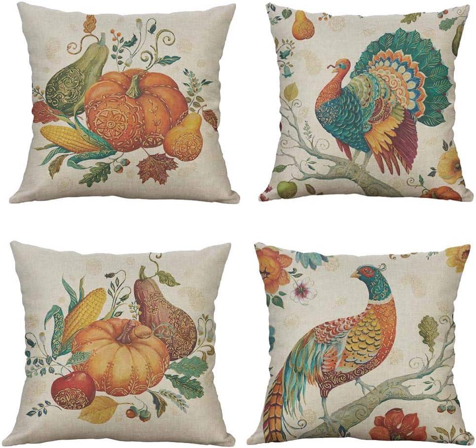 Fall Maple Leaf Pumpkin Harvest Thanksgiving Turkey Cotton Linen Decorative Throw Pillow Case Cushion Cover Pillow case 18