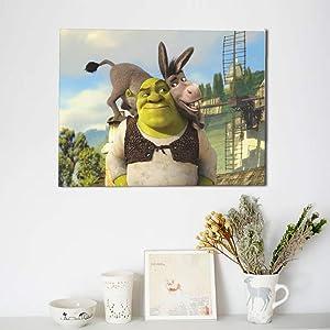 Shrek Wall Art Painting Wall Poster Cartoon Canvas Print Artwork Modern Home Decor Unframed (1 Pc,12 ''x 16'')